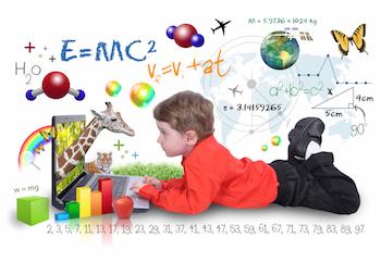 Bild på ett barn som lär sig saker