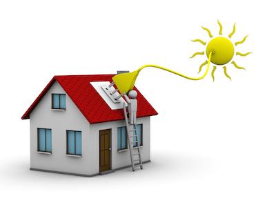 Illustration hur solenergi försörjer ett hus med el
